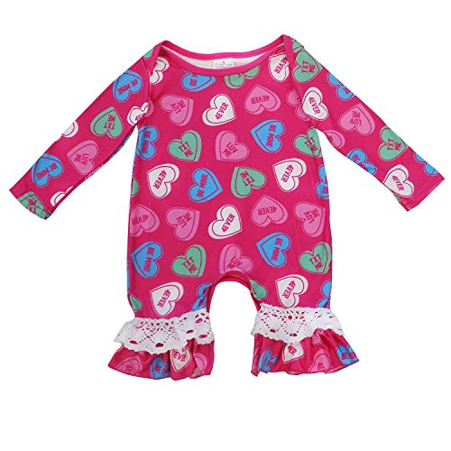 So Sydney Girls Toddler Baby Infant Holiday Long Sleeve Romper Jumpsuit (L (12-18 Months), Candy Hearts)]()