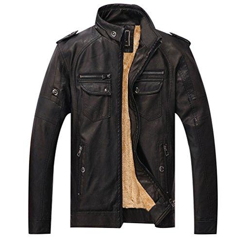 Negro Cazadora Piel Chaqueta de De Lihaer Moto Chaquetas Imitación Hombre Chaquetas Cuero PU De qwB6WCAOx