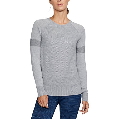 Wool V-neck Golf - Under Armour Womens Ws Panelled Crewneck Sweater,Overcast Gray (941)/Overcast Gray, X-Large