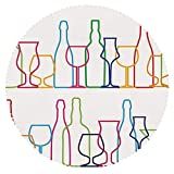 iPrint Upscale Round Tablecloth [ Wine,Colorful Outline Bottles and Glasses Bar Party Drink Cocktails Modern Fun Collection Decorative,Multicolor ] Fabric Home Tablecloth Design