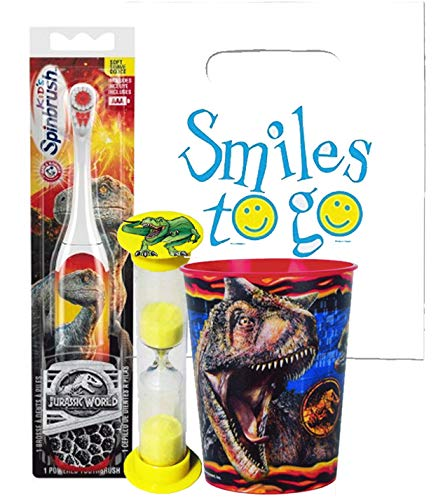 (Jurassic World 3pc Bright Smile Oral Hygiene Bundle! T-Rex Dinosaur Turbo Spin Toothbrush, Brushing Timer & Mouthwash Rise Cup! Plus Dental Gift Bag & Tooth Saver Necklace!)