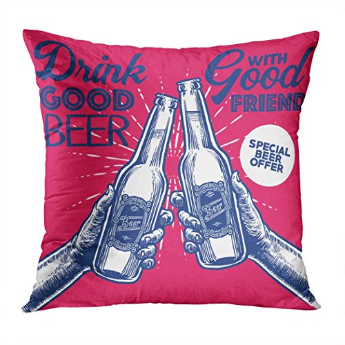(Qryipd Throw Pillow Cover Hand Drawing Vintage Style Beer Cheer Comfortable Living Room Print Sofa Bedroom Polyester Hidden Zipper Pillowcase Cushion Cover 16x16)