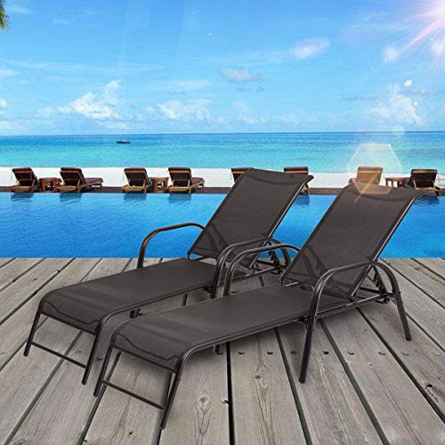 (Stark Item Set of 2 Patio Lounge Chairs Sling Chaise Lounges Recliner Adjustable Back)