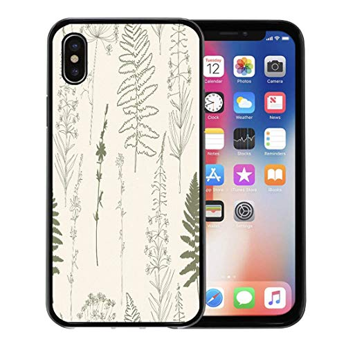 Semtomn Phone Case for Apple iPhone Xs case,Chicory Dill Fennel Flowers Fireweed and Fern Leaves Thin Lines Plants Silhouettes in Khaki Green for iPhone X Case,Rubber Border Protective Case,Black