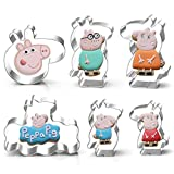 WOTOY 6 Pieces Pig Family Cake Cookie Cutters Set - Stainless Steel