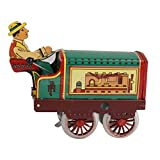 Shalleen Vintage old Wind Up Tractor toy farmer driver tin Clockwork Mechanical Toys