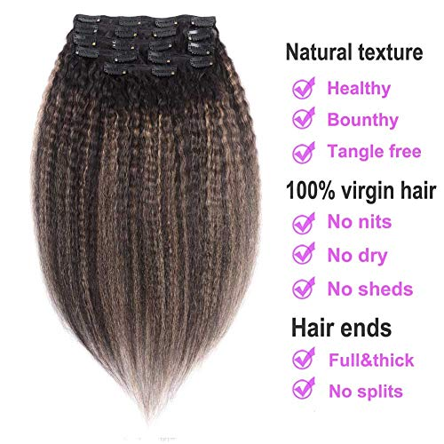 Yaki Clip in Human Hair Extensions, Natural Ombre Balayage Strawberry Blonde Yaki Clip on Remy Hair Extensions 128 grams (Color #TF-1b/27 12inch) ()