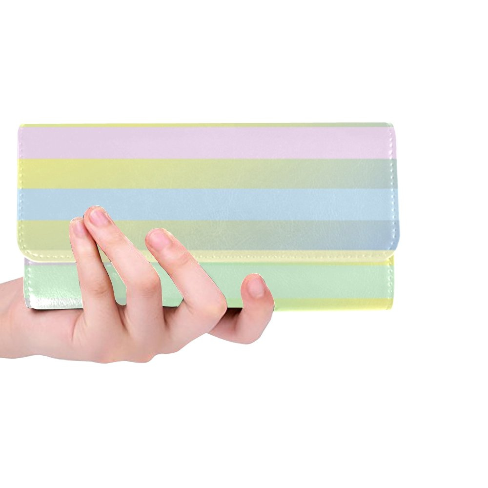 Unique Custom Baby Pastels Colors Radial Gradient Horizontal Women Trifold Wallet Long Purse Credit Card Holder Case Handbag