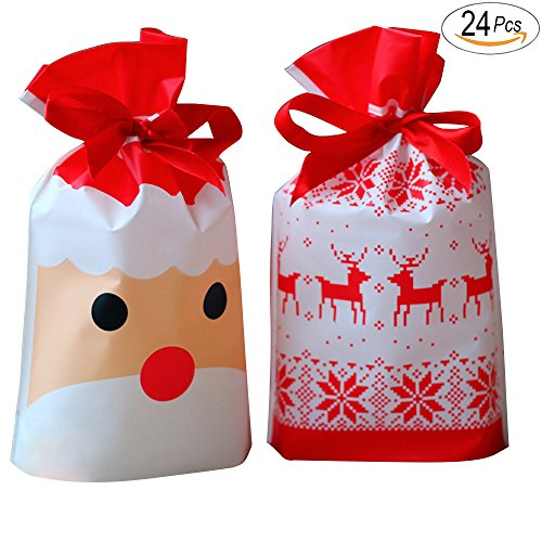 6546d7b51858 Christmas Plastic Drawstring Bags, Party Favors Gifts and Candy Bags, Gift  Wrapping Christmas Ornaments with Handle for Party Home Decor,Goodie Bags  ...
