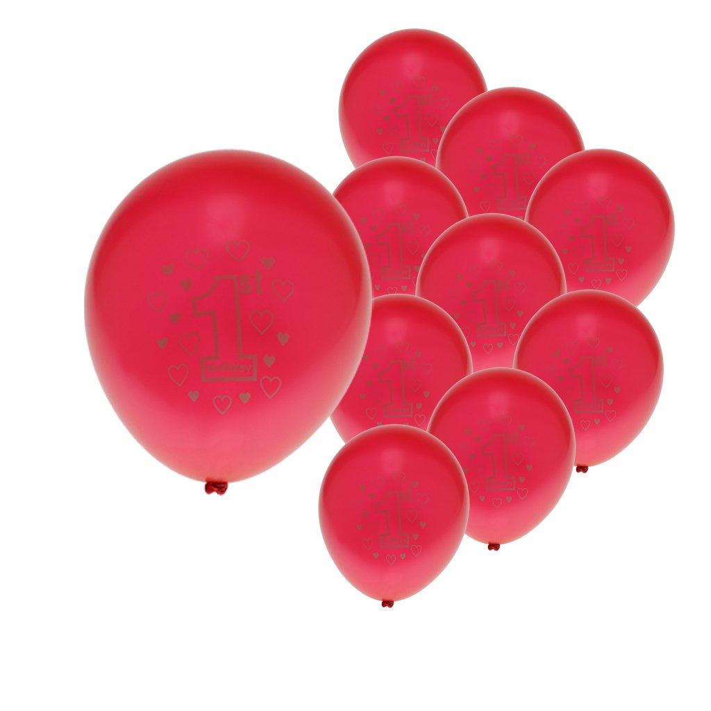 Gazechimp 10pcs Ballon Latex 12 pouces Fourniture Déco Anniversaire 1 An Fille Garçon - Rouge