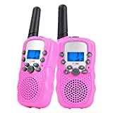 Walkie Talkies for Kids Long Range Two Way Radio 3KM 22 Channels Battery Operated Handset with Indicator and Belt Clip for Children Outdoor Camping Hiking 2 PCS(Pink)