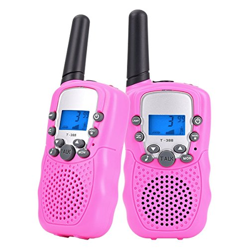 - Walkie Talkies for Kids Long Range Two Way Radio 3KM 22 Channels Battery Operated Handset with Indicator and Belt Clip for Children Outdoor Camping Hiking 2 PCS(Pink)