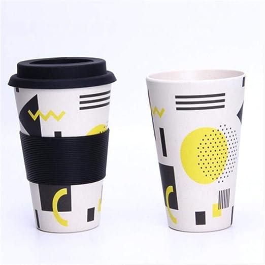 HRJ Taza De Café Reutilizable Bamboo Cup (400 Ml) con Tapa Y Funda ...