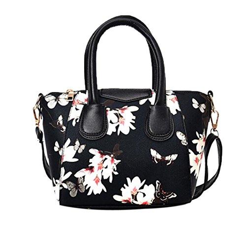 SHOBDW 2 Handbag Shoulder Messenger Butterfly black Womens Bag Bags Printing Women Shoulder Tote Flower 70dvEnqU