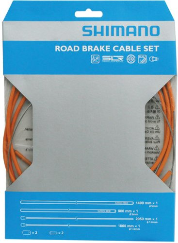 Shimano PTFE Road Brake Cable and Housing Set (Orange) - Orange Housing