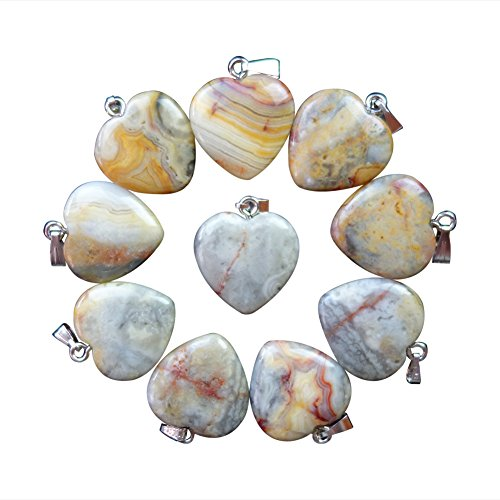 Beautiful 10pcs Yellow Crazy Lace Agate Heart Pendant Bead