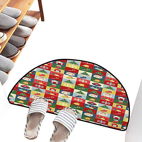 Axbkl Printed Door mat Christmas Xmas Theme Santa Claus Surprise Boxes Cones Jingle Bells Tree Ornaments in Boxes Non-Slip Door mat pad Machine can be Washed W36 xL24 Multicolor ()