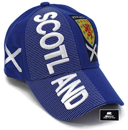 "- High End Hats ""Nations of Europe Hat Collection"" 3D Embroidered Adjustable Baseball Cap, Scotland with Coat of Arms Includes 1-Year Warranty, Blue"