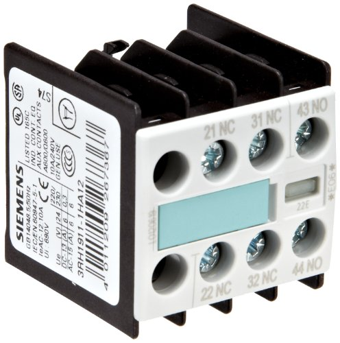 Siemens 3RH19 11-1HA12 Auxiliary Switching Block For Contactor, S00 Size, Screw Connection, 3 Pole, 22 E Identification Number, 1 NO + 2 NC Contacts