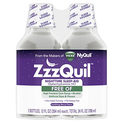 ZzzQuil Nighttime Sleep Aid Liquid, 2 Pack, 12 fl oz, FREE OF Alcohol & Artificial Dyes, Soothing Berry Flavor