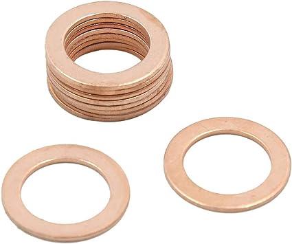 X AUTOHAUX 14.5mm Inner Dia Copper Crush Washers Flat Car Sealing Gaskets Rings 30pcs