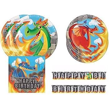 Flame Backdrop Dragon Cutouts FAKKOS Design Dragon Party Supplies Decor Set Stone Table Cover