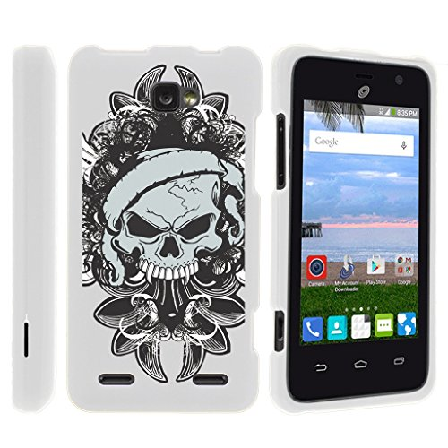 Miniturtle [ZTE Zephyr case, ZTE Sonata 2 Cover] -[Snap Shell] 2 Piece Rubberized Hard White Case - Demon Skull (Skulls White Rubberized Snap)