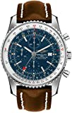 Breitling Navitimer World Blue Dial Men's Watch on Brown Leather Strap A2432212/C651-443X