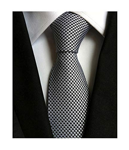 Secdtie Men's Classic Solid Color Ties Soft Business Casual Attire Suit Neckties (One Size, Silver Black)