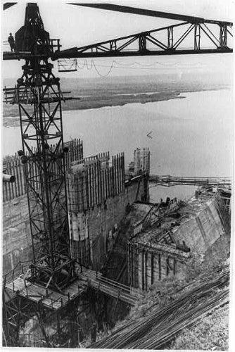 Photo: Construction Site,Ural atomic power station,water reservoir dam,August 1959