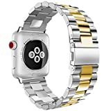 iiteeology Compatible with Apple Watch Band, 42mm 44mm Stainless Steel iWatch Band Link Bracelet with Adapters for Apple Watch Series 4 Series 3 Series 2 Series 1 - Silver/Gold