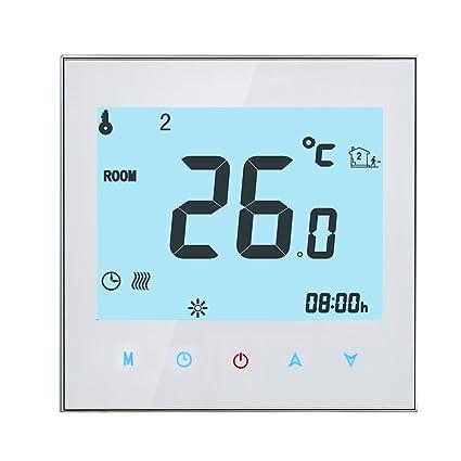 Onepeak Pantalla LCD programable Pantalla táctil Termóstato de calefacción eléctrica Controlador de temperatura del sitio NTC