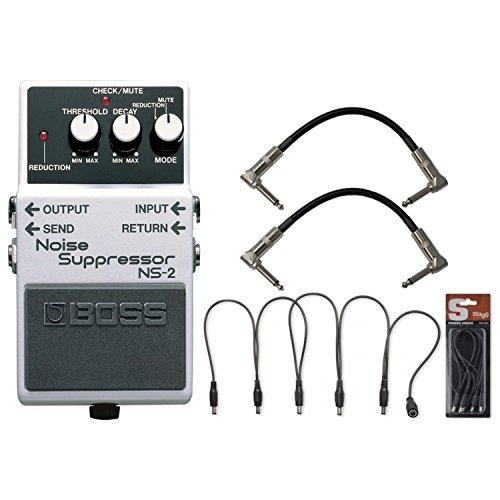 BOSS NS-2 Noise Suppressor Pedal w/Daisy Chain Power Cable and (2) 6'' Patch Cables by BOSS