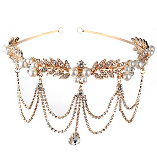 Lux Accessories Gold Tone Pearl Wedding Silver Crystal Rhinestone Princess Crown