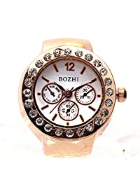 Lover's Dial Quartz Analog Watch Creative Steel Cool Elastic Quartz Finger Ring Watch (Gold)