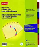Staples Big Tab Insertable Dividers, 8-Tab, Muiltcolored, 4/Pack (14483)