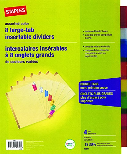 staples big tab insertable dividers 8 tab muiltcolored 4 pack