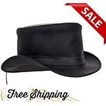 DREAM APPAREL Black Leather Deadman Top Hat