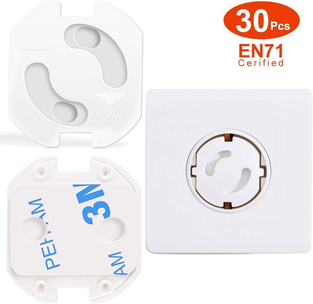 Protector para Enchufes 30 Pcs, Opret Tapa Enchufes para Bebé y Niños, Enchufe de Seguridad con Resistente Adhesivo y Mecanismo de Giro