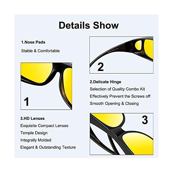 Nachtsichtbrille für Männer & Frauen Brillenträger geeignet umlaufende Korrekturbrillen polarisierte gelbe Linse blendfreier UV 400 Schutz