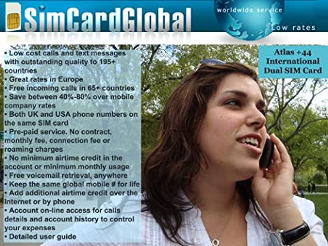 SimCardGlobal International Micro-SIM Card for iPhone 4 or iPad with US/UK numbers (Unlock Phone With Any Micro Sim)