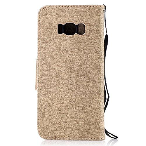 Funda Samsung Galaxy S8,Funda Libro Suave PU Leather Cuero impresión- EMAXELERS Carcasa Con Flip case cover,Funda Galaxy S8 gofrado diseño afortunado del trébol Flip case cover,wallet Case para Galaxy C Gold Bear