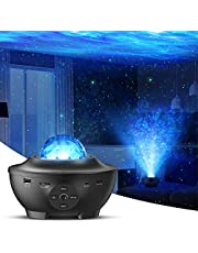 Star Projector with Bluetooth Speaker Remote Control Night Light with Moving Ocean Wave for Holiday Decor Mood Ambiance Home Theater Lighting Stage Lights for Kids Adults