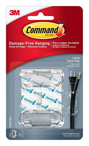 Command Cord Clips, Large, Clear, 2-Clip, 4-Pack by Command
