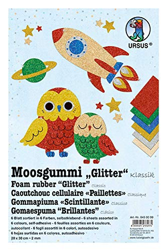 Ursus 8490099 Glitter Classic, 6 Sheets of Foam Rubber, Assorted in 6, Approx. 20 x 30 cm, 2 mm Thick, self-Adhesive, Colourful