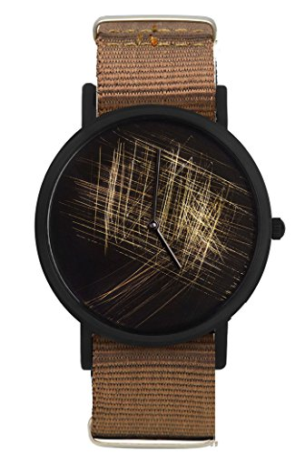 South Lane 'NOIR silver' Swiss Quartz Stainless Steel and Canvas Casual Watch, Color:Brown (Model: 659436314351) by South Lane