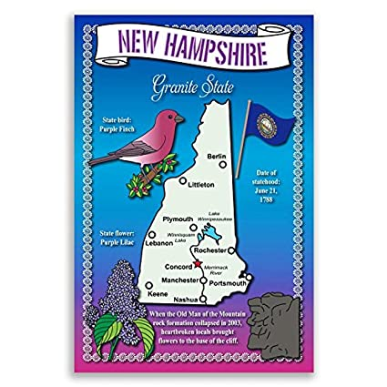 Amazon New Hampshire State Map Postcard Set Of 20 Identical