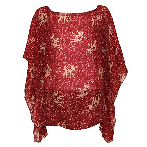 Divine Nine Depot Crimson Elephant With Tribal Accents Lightweight Summer/Spring Chiffon Tunic (One Size Fits Most)