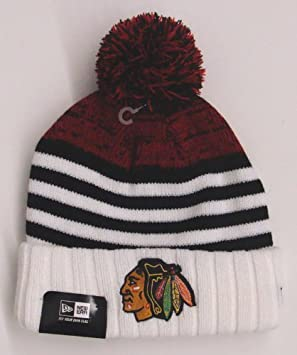 reputable site 44ccd 2b26b Chicago Blackhawks New Era Snowfall Stripe Knit Embroidered Pom Beanie Fold  Cap  Amazon.co.uk  Sports   Outdoors