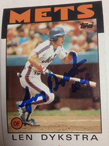 1986 Topps Autographed Card - Lenny Dykstra Autographed 1986 Topps #53 Rookie Card